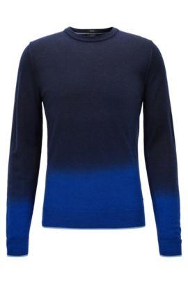 Pull Slim Fit dipdye en laine mélangée, Bleu foncé