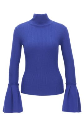Virgin wool turtle-neck with tulip cuffs, Purple