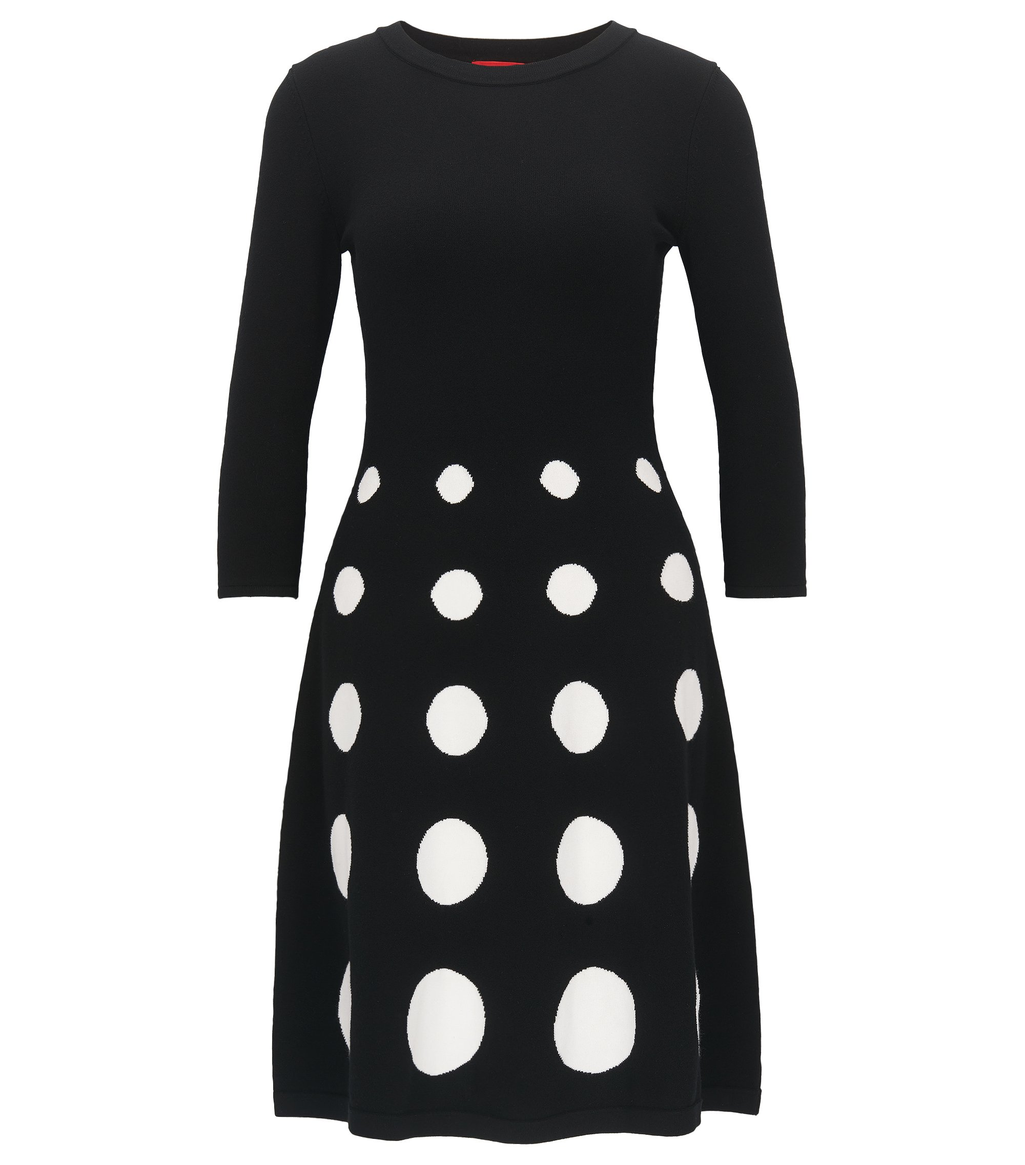Slim-fit dress in knitted jacquard, Patterned