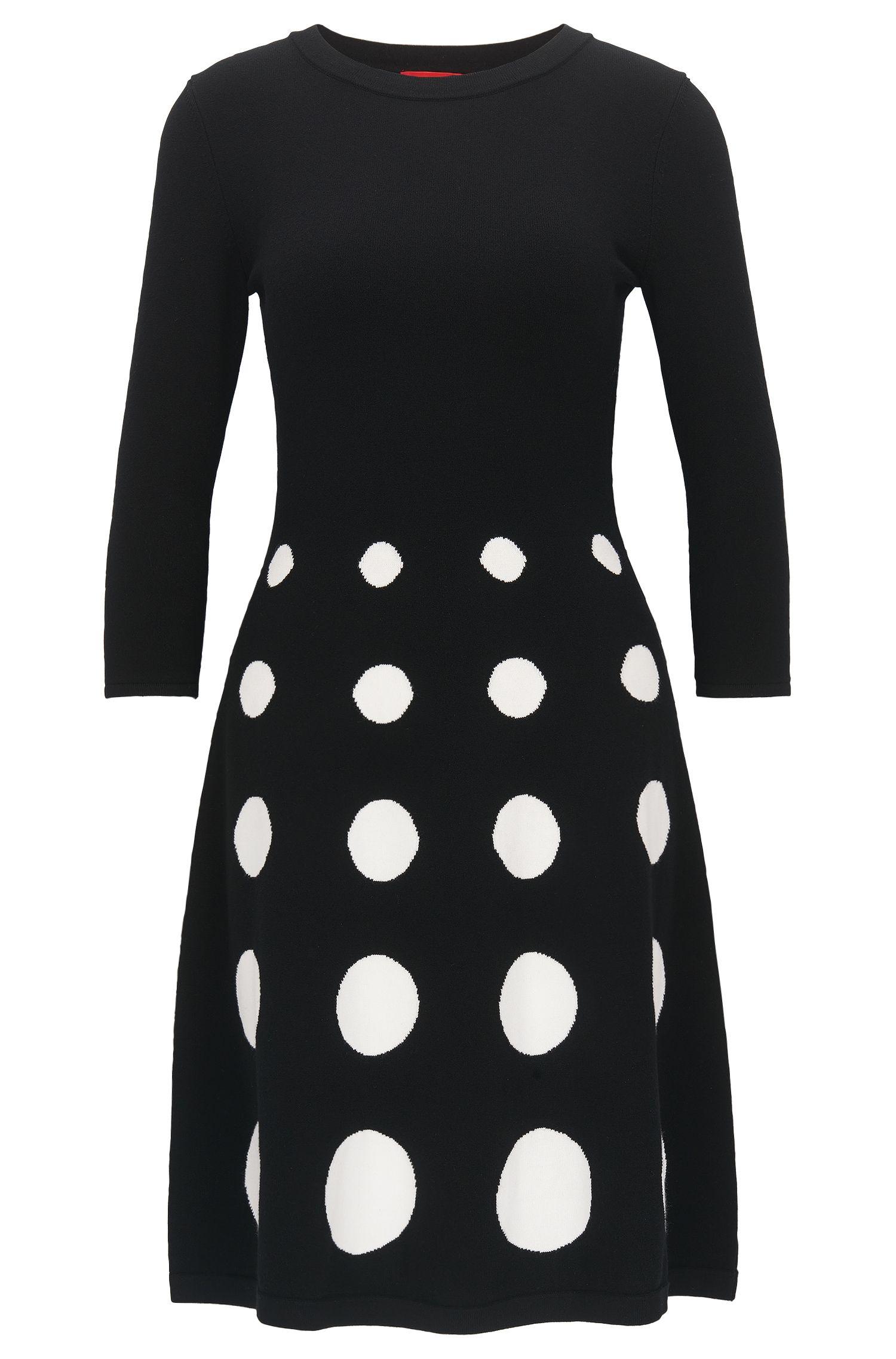 Slim-fit jurk in gebreide jacquard