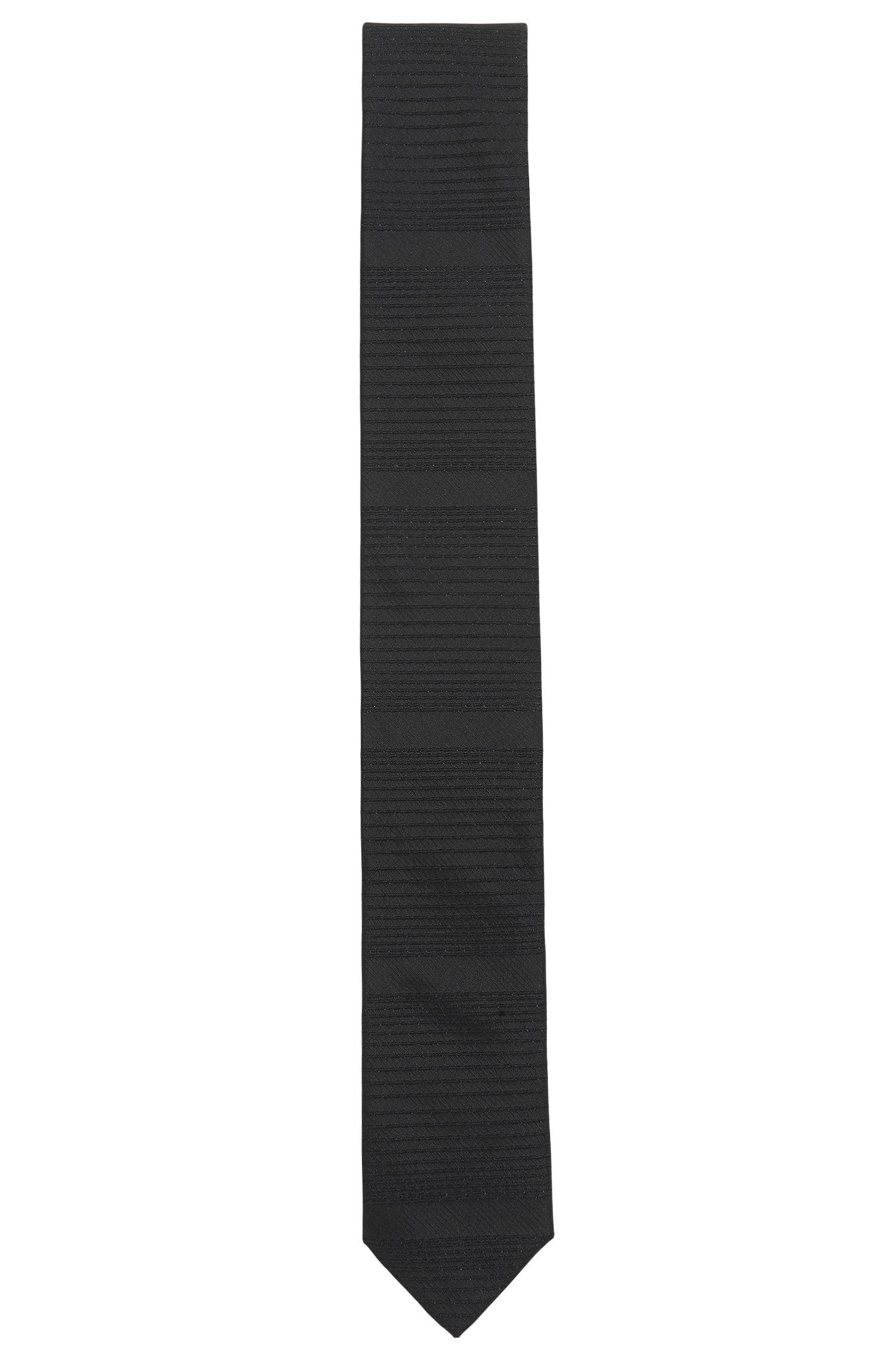 Cravate en soie mélangée à rayures horizontales