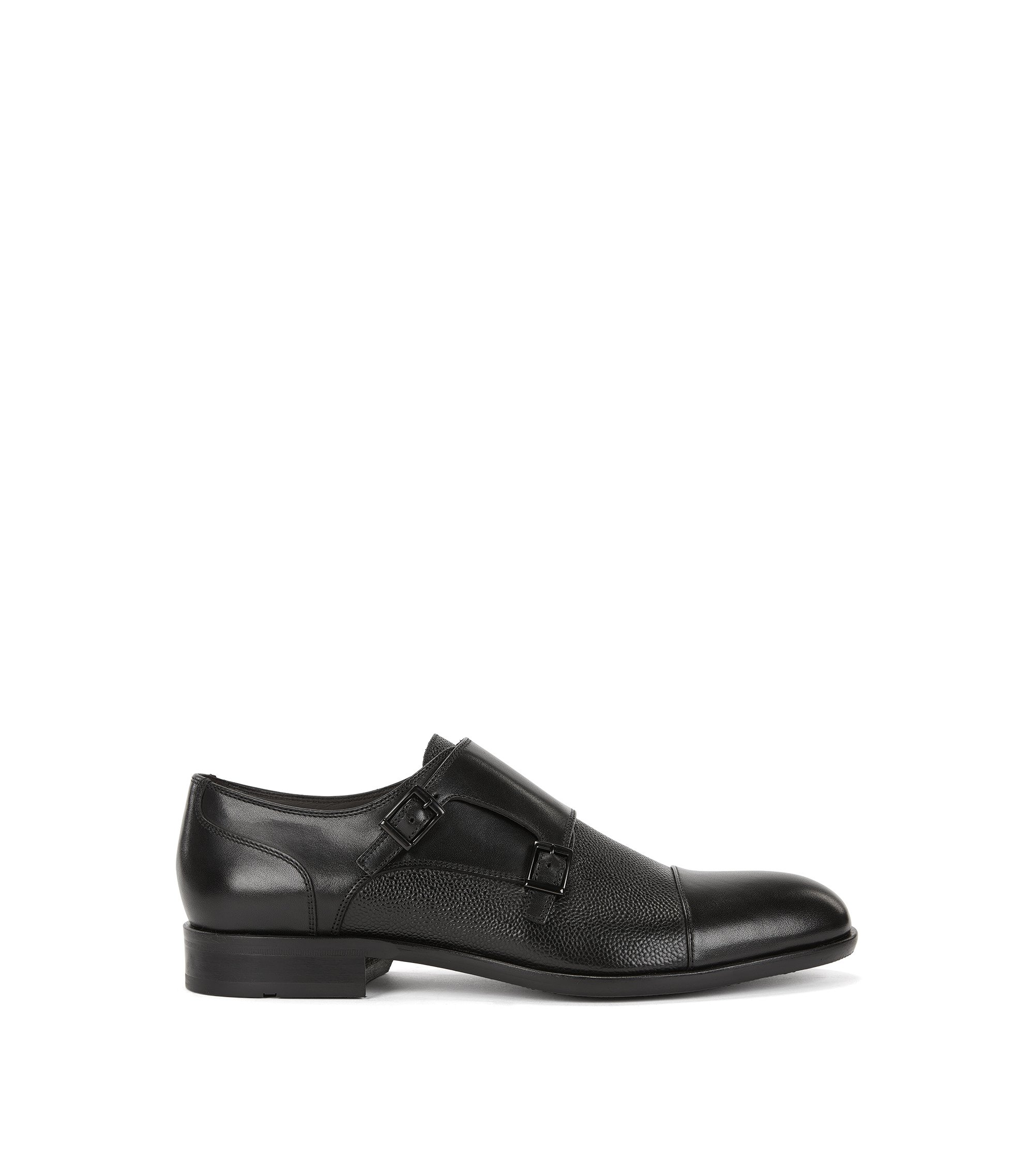 Leather monk shoes with embossed details, Black