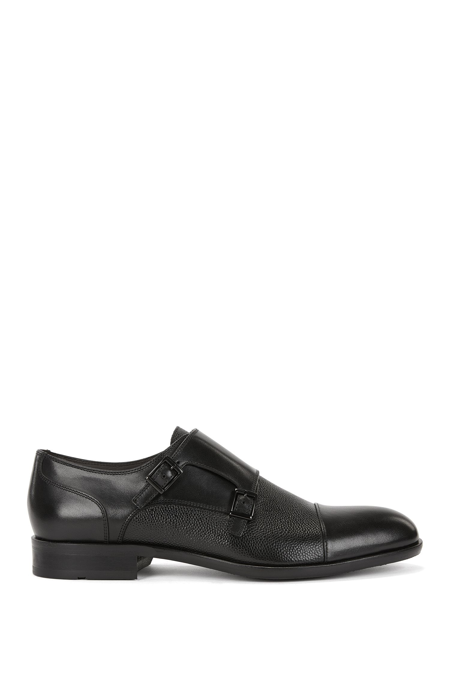 Leather monk shoes with embossed details