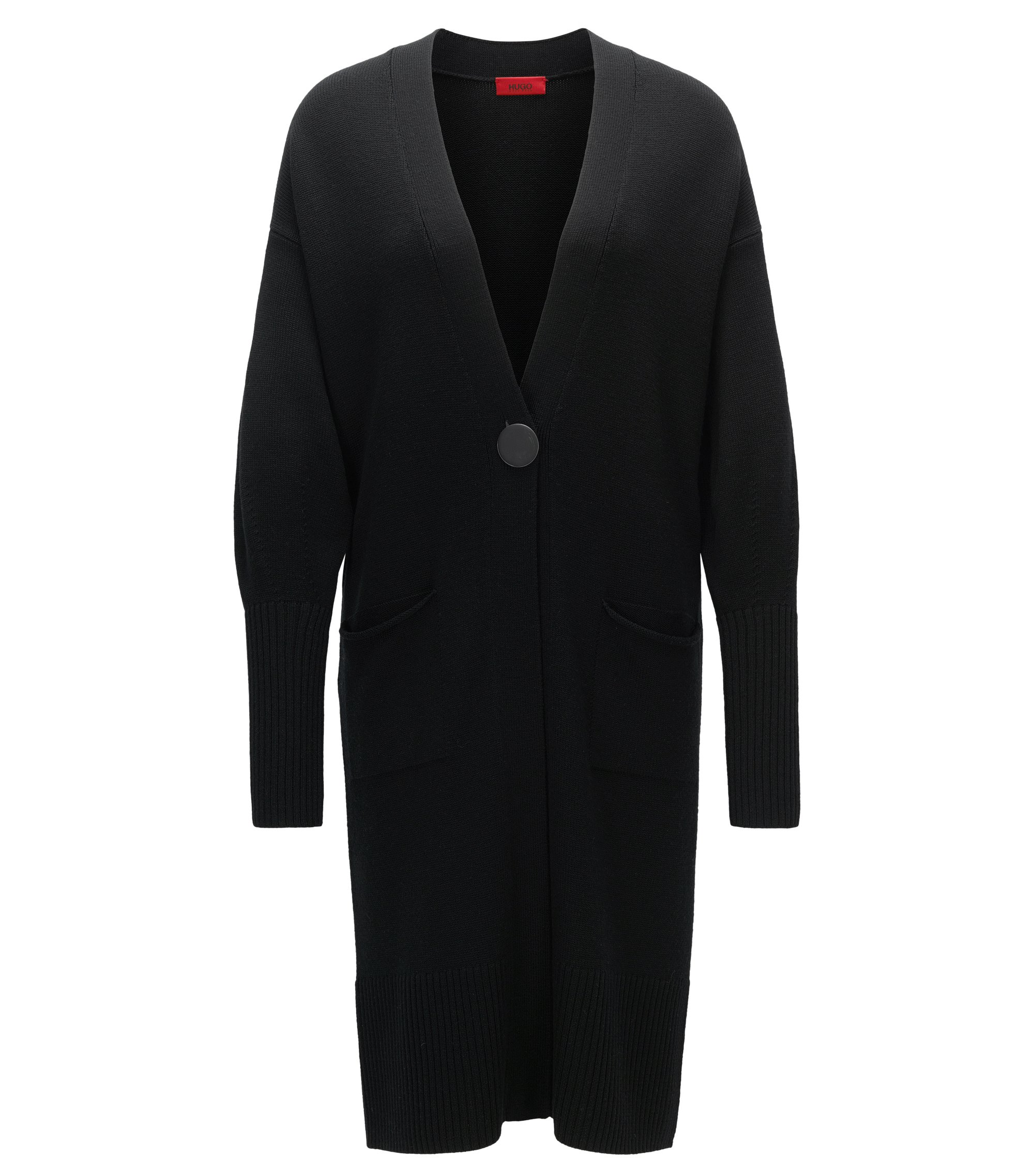 Extra-long cardigan in virgin wool, Black
