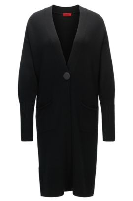 Extra-long cardigan in virgin wool, Zwart