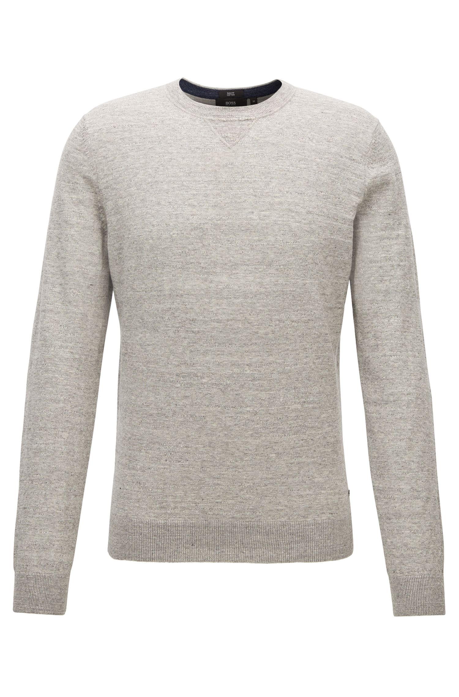 Slim-fit sweater in knitted cotton jersey