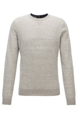 Slim-fit sweater in knitted cotton jersey, Light Grey