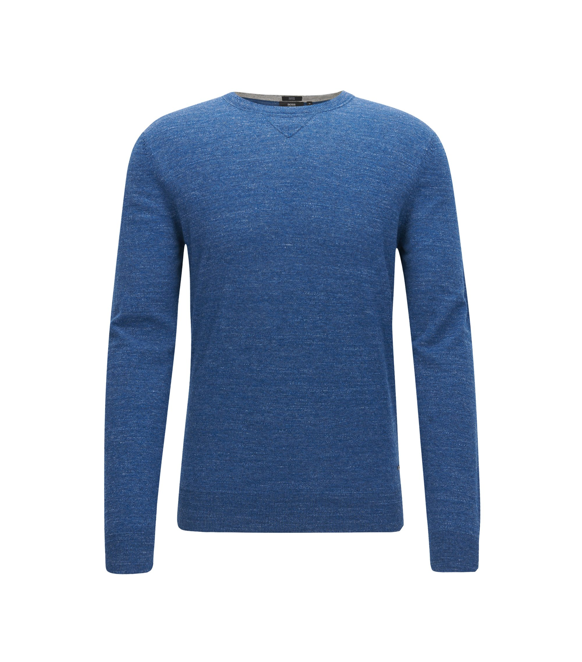 Slim-fit sweater in knitted cotton jersey, Blue