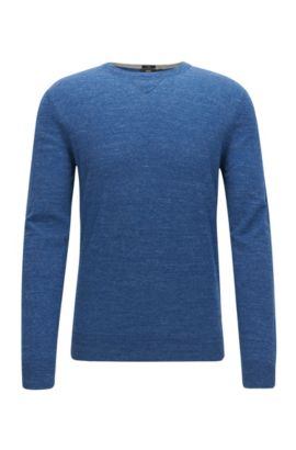 Slim-fit sweater in knitted cotton jersey, Open Blue
