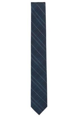 Cravate en jacquard de soie à motif prince-de-galles, Bleu foncé