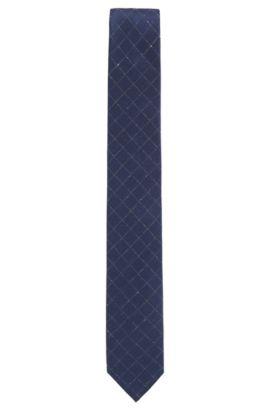 Cravate en soie mélangée à motif diamant, Bleu foncé