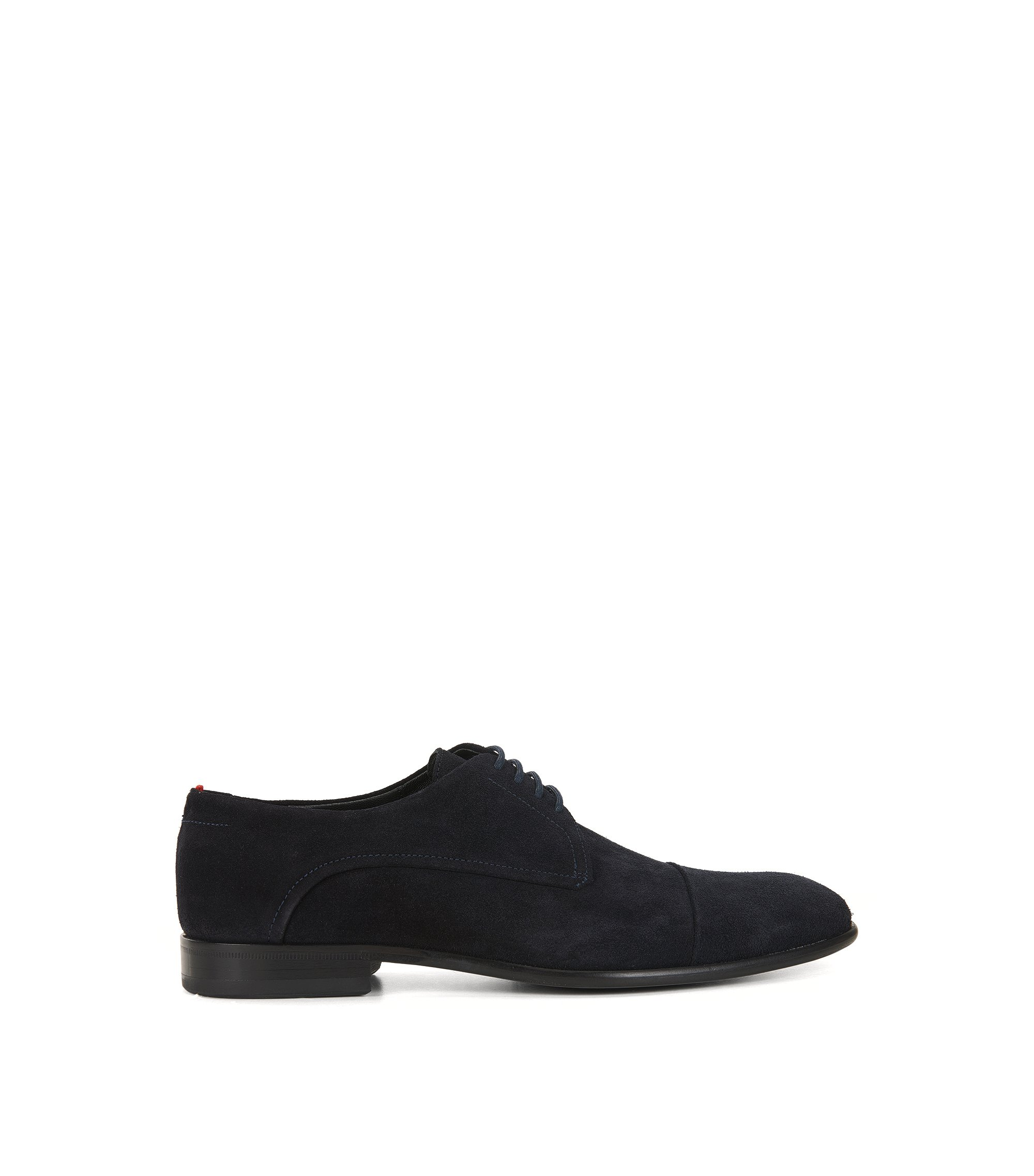 Lace-up Derby shoes in Italian suede, Dark Blue