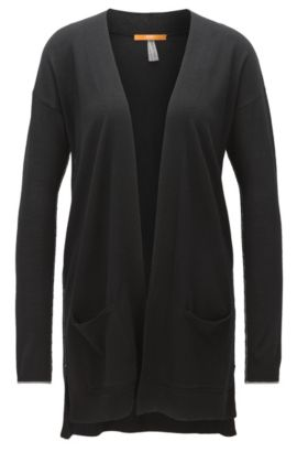 Long cardigan in virgin wool, Black