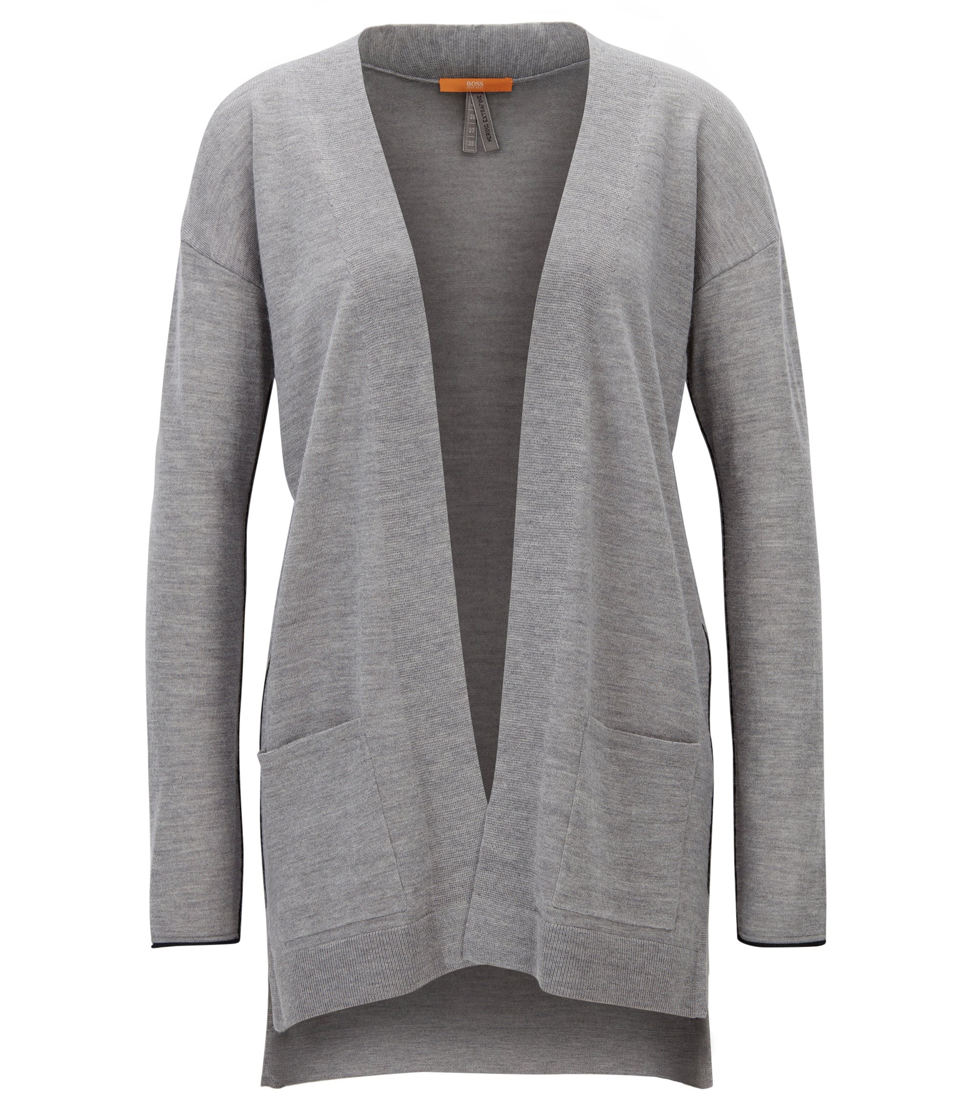 Langer Relaxed-Fit Cardigan aus Schurwolle, Grau