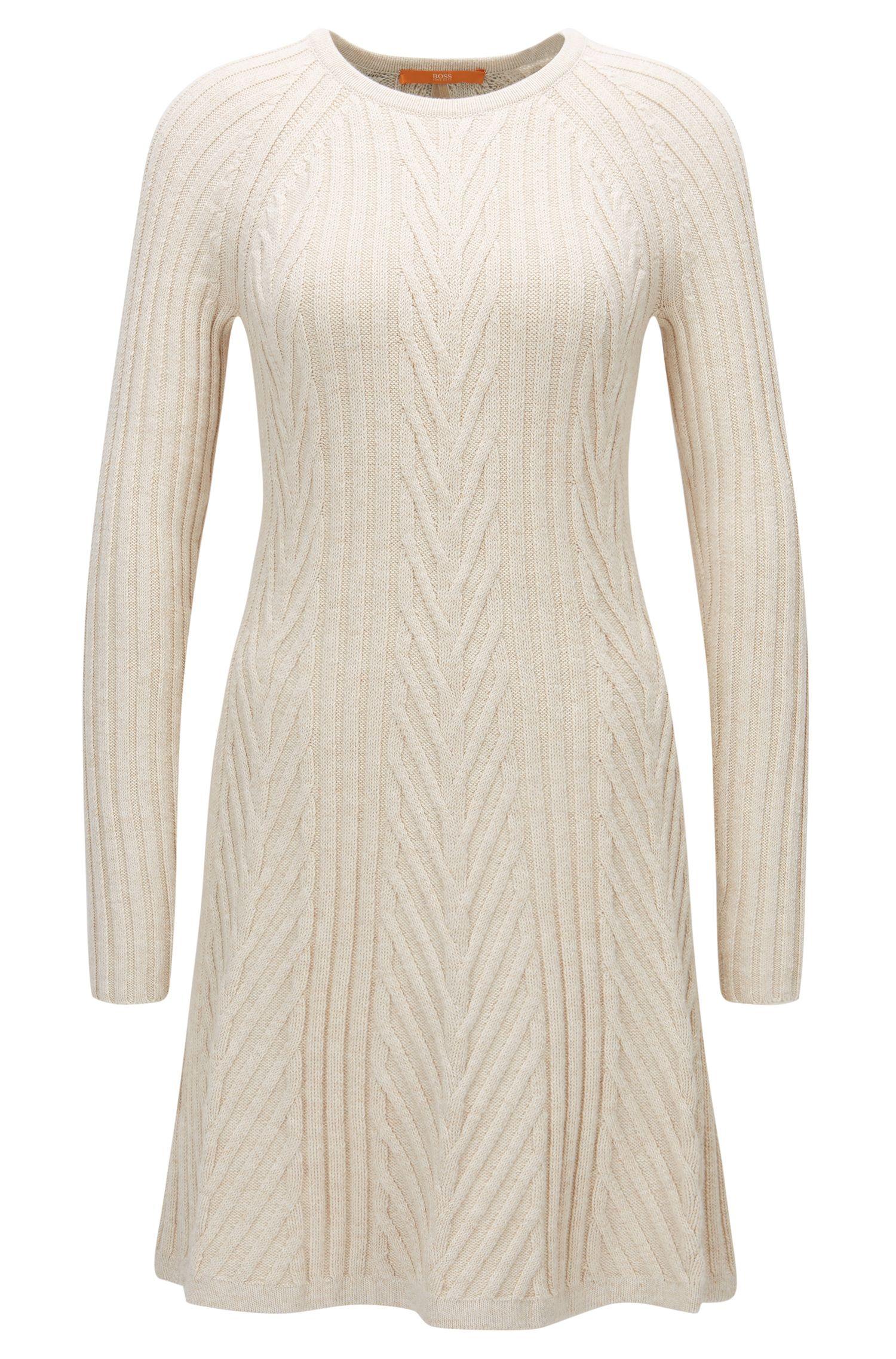 Regular-Fit Kleid aus elastischem Baumwoll-Mix mit langen Ärmeln