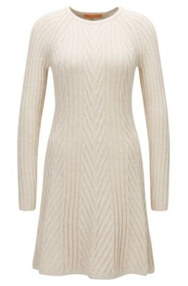 Long-sleeved dress in a cotton mix, Natural