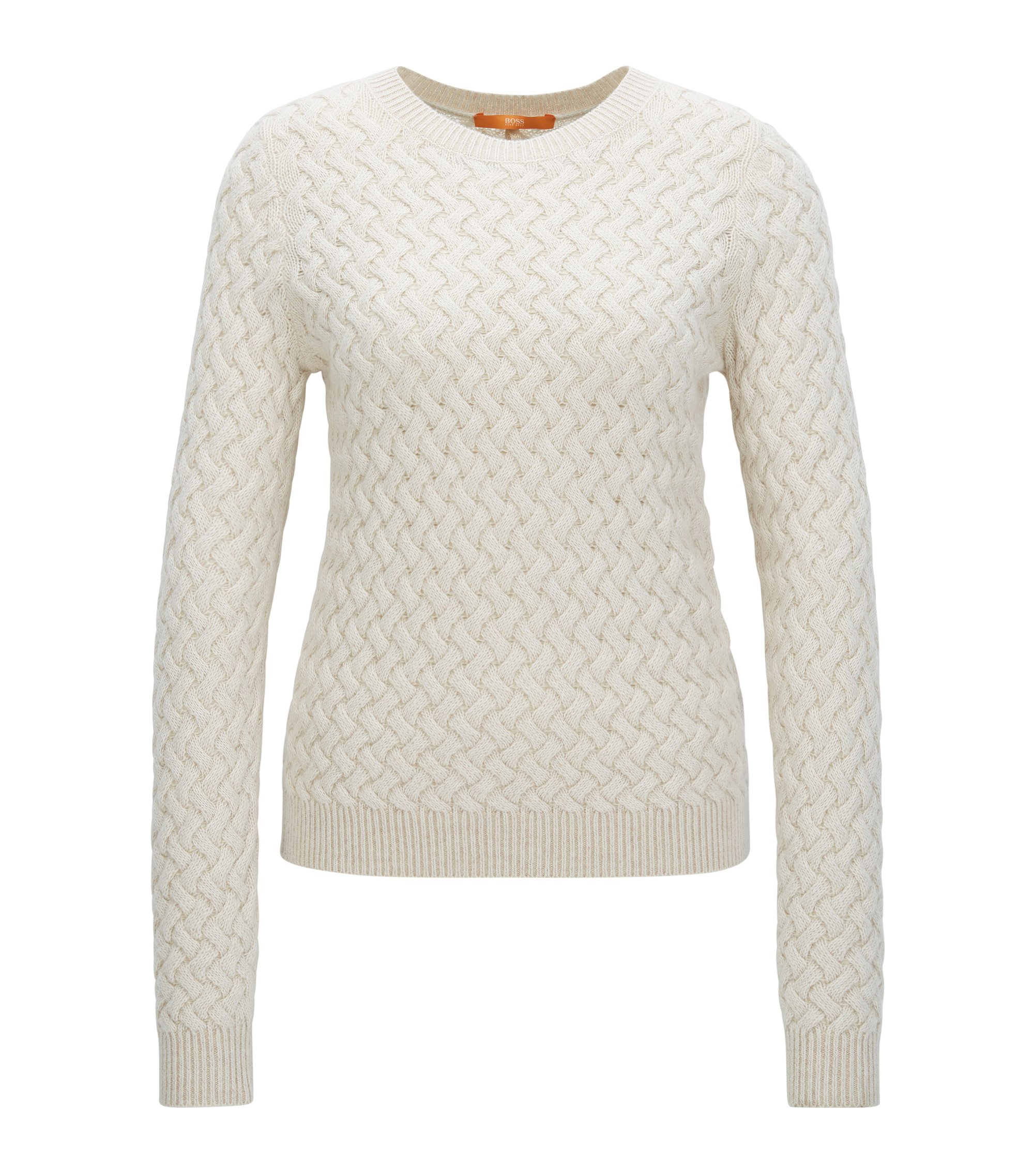 Structured-knit sweater in a wool blend, Natural