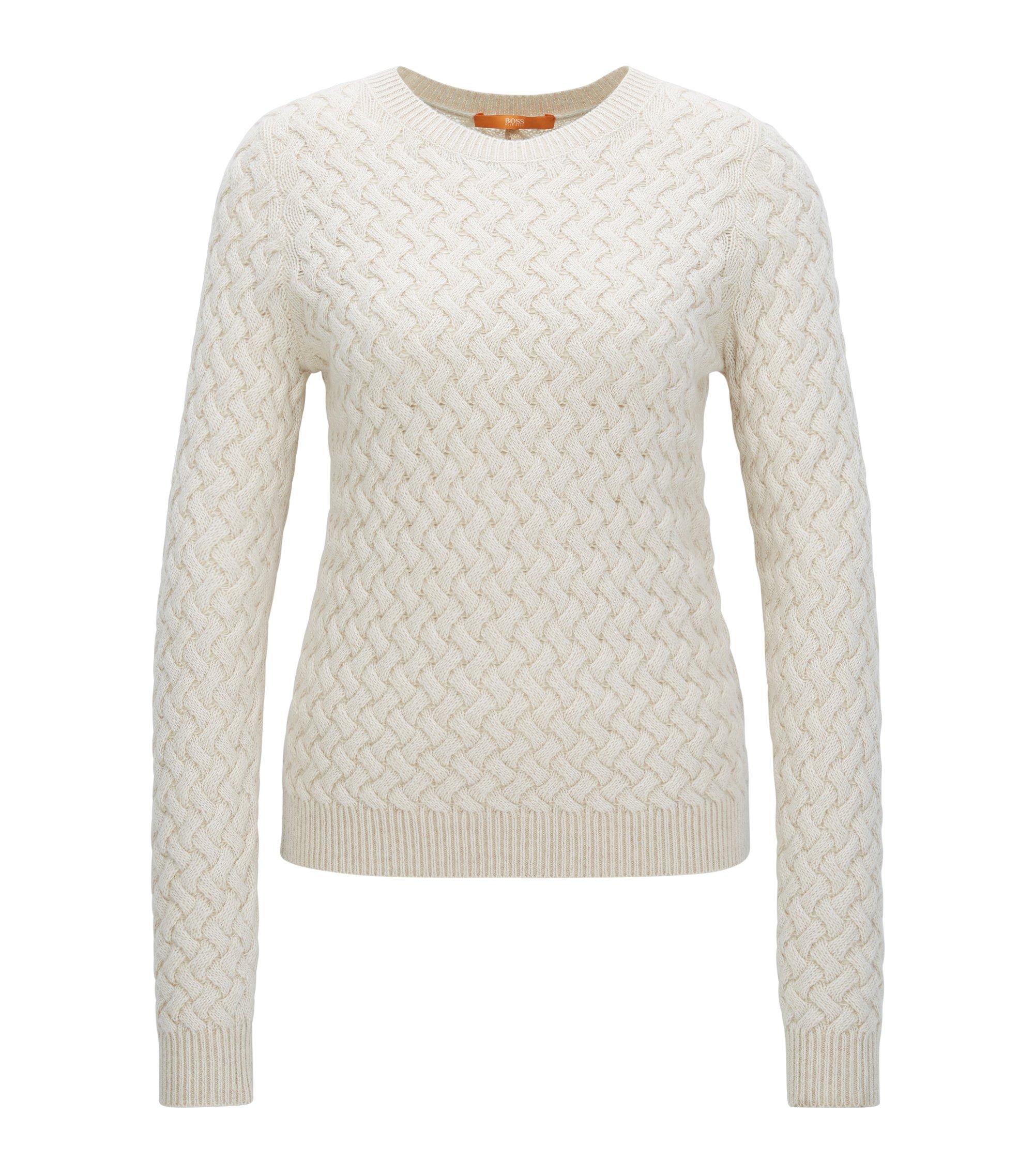 Jersey de punto con textura en mezcla de lana, Natural