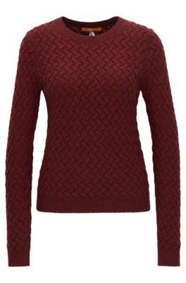 Pull à maille structurée en laine mélangée, Rouge sombre