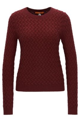 Structured-knit sweater in a wool blend, Dark Red