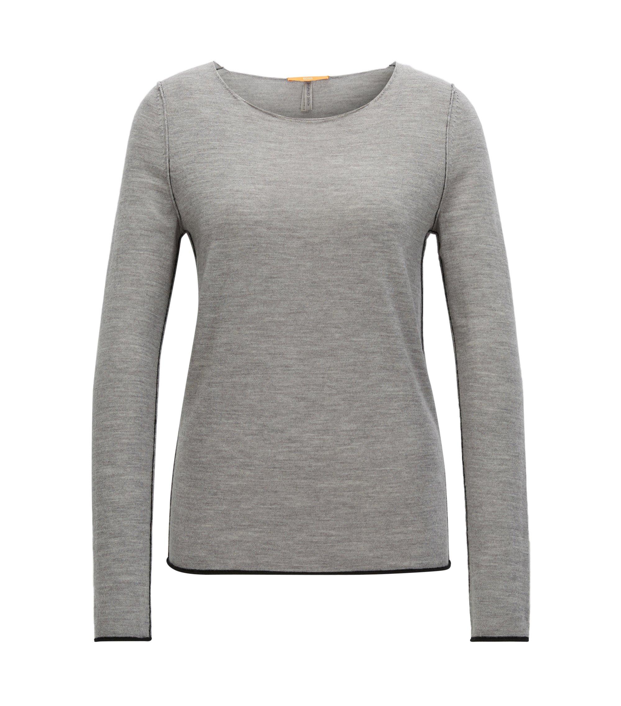 Regular-Fit Pullover aus leichter Schurwolle mit Rundhalsausschnitt, Grau