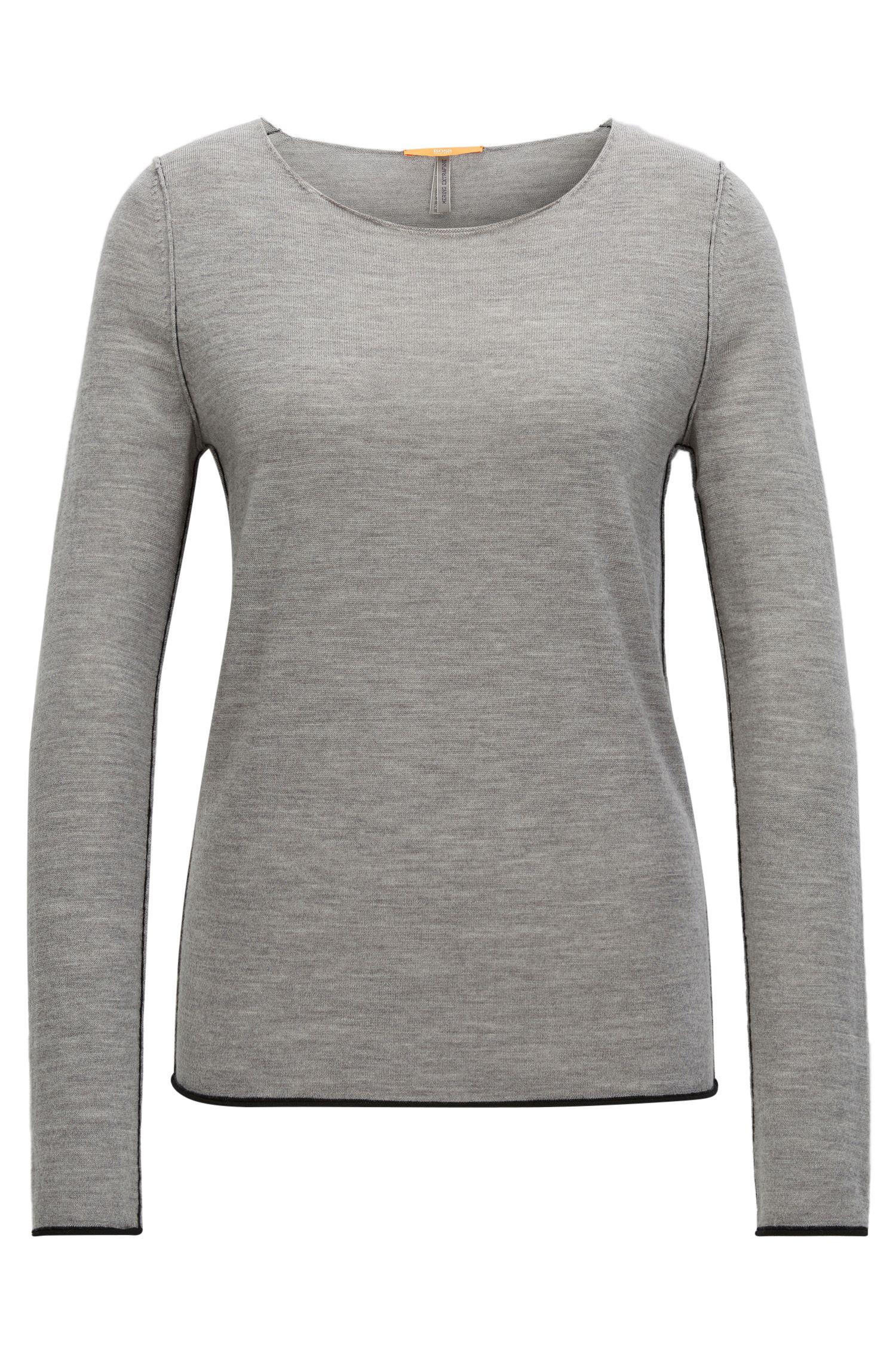 Regular-Fit Pullover aus leichter Schurwolle mit Rundhalsausschnitt