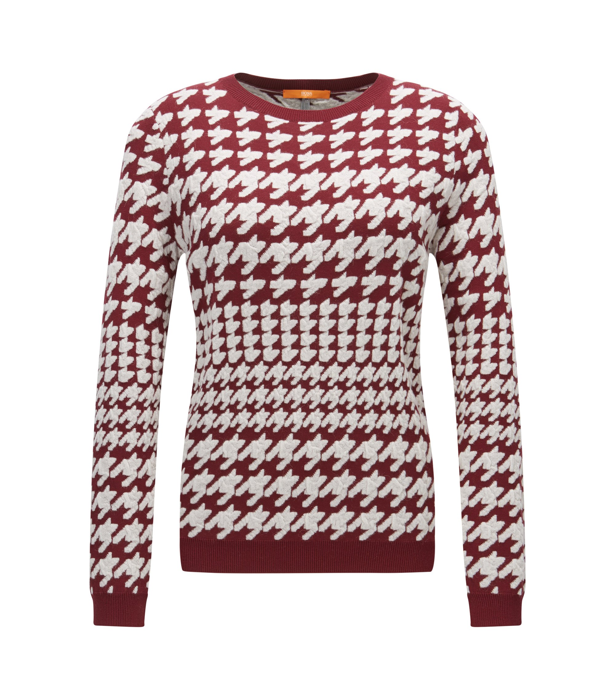 Crew-neck sweater with houndstooth raised jacquard, Dark Red
