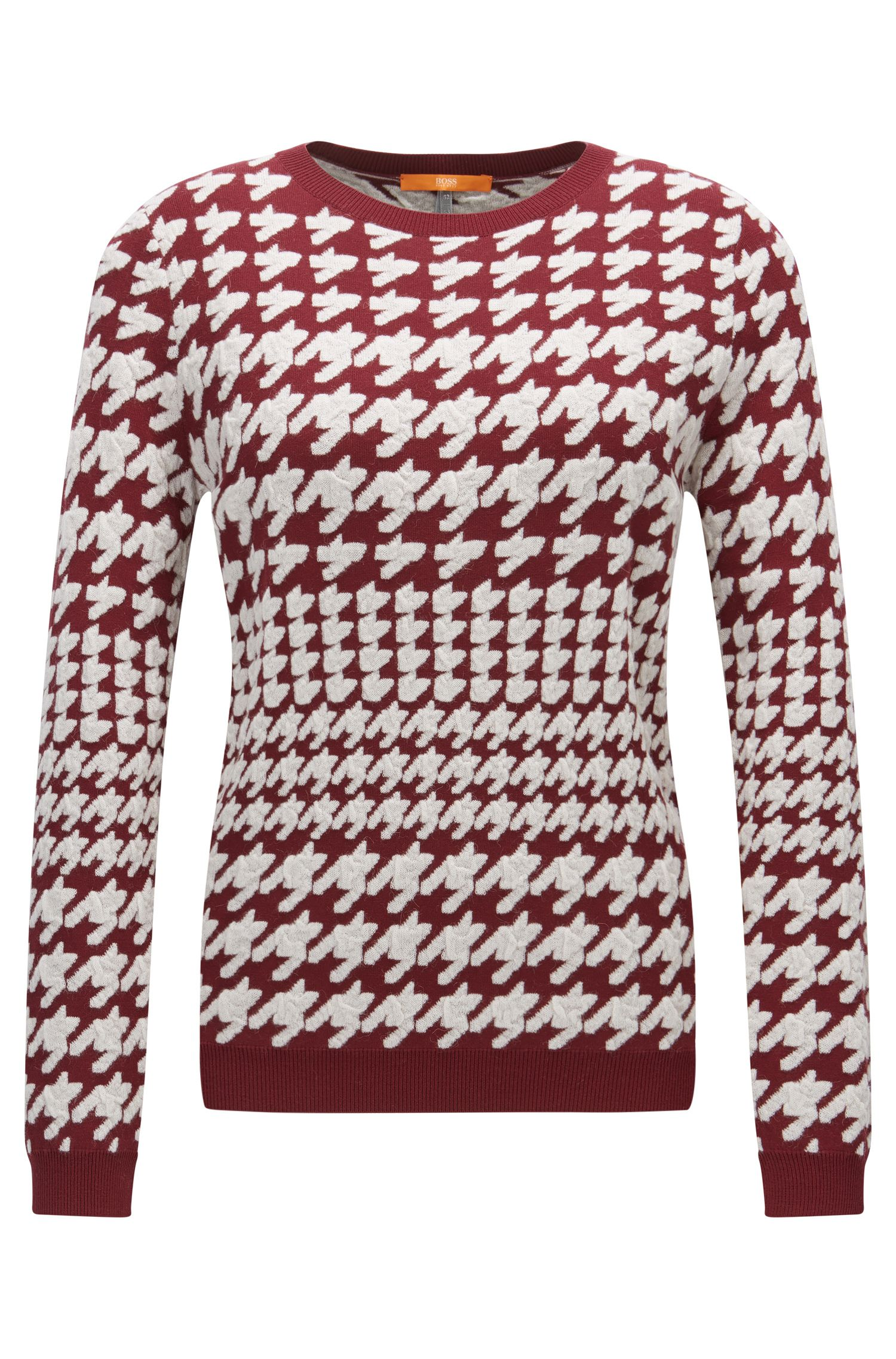 Crew-neck sweater with houndstooth raised jacquard