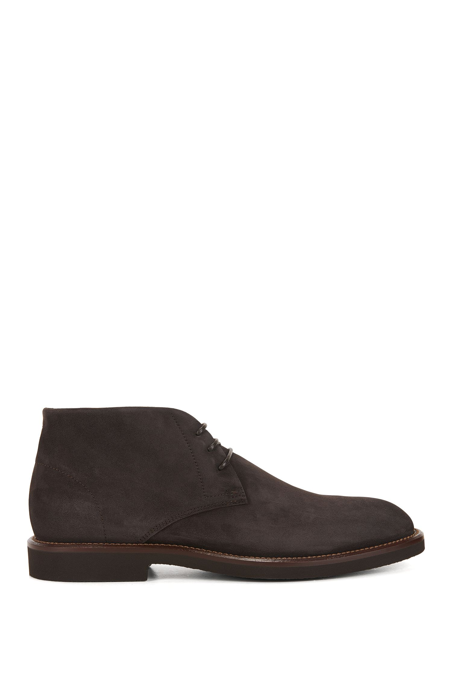 Lace-up desert boots in soft suede