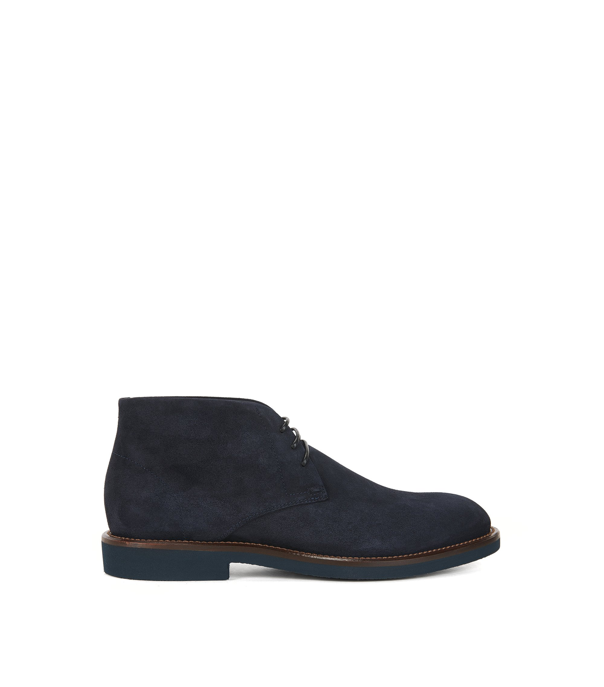 Lace-up desert boots in soft suede, Dark Blue