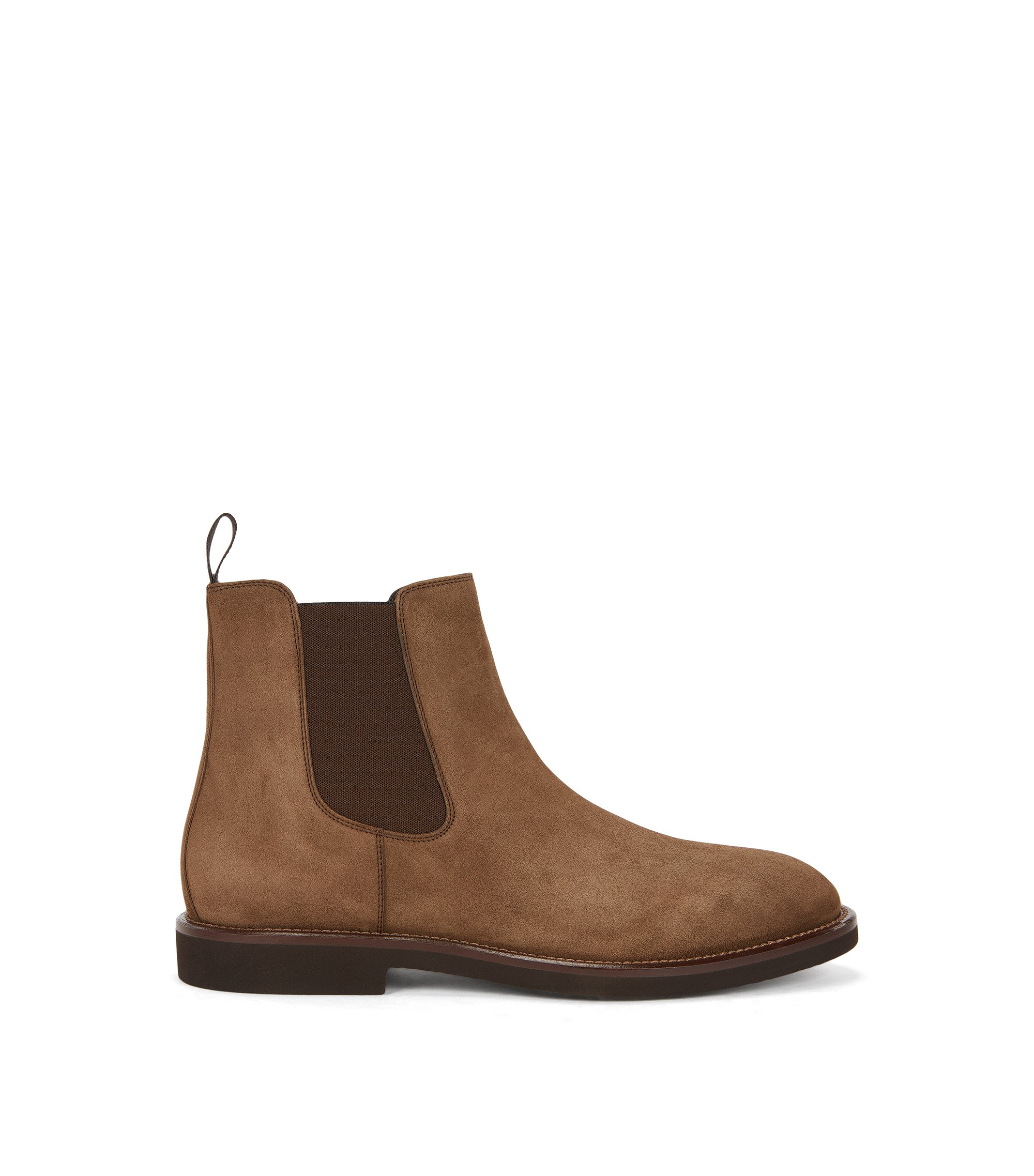 Suede Chelsea boots on a crêpe sole, Brown