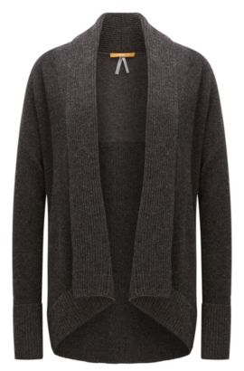 Virgin wool-blend cardigan in mixed knits, Anthracite
