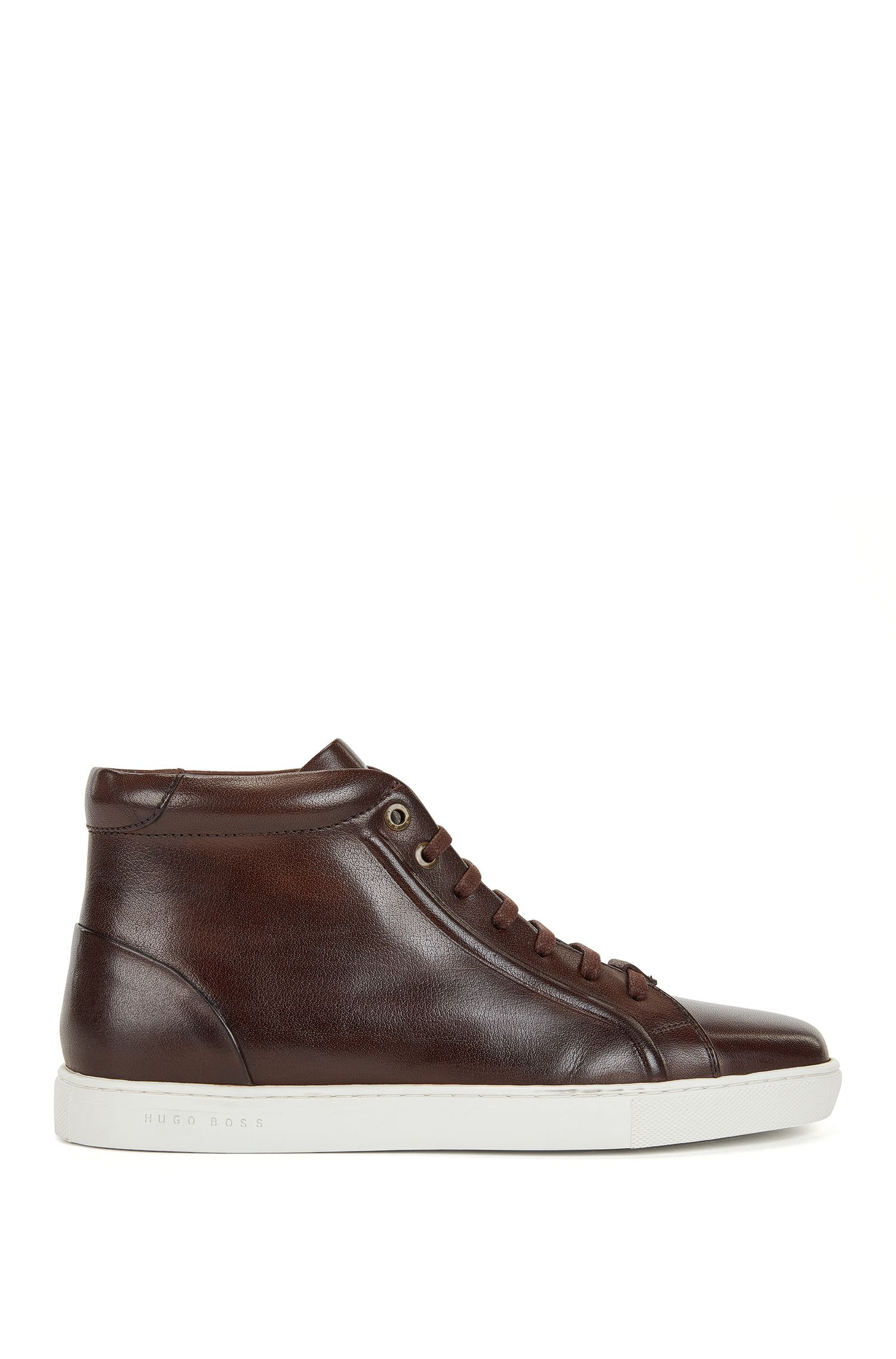 Sneakers high-top stringate in pelle brunita
