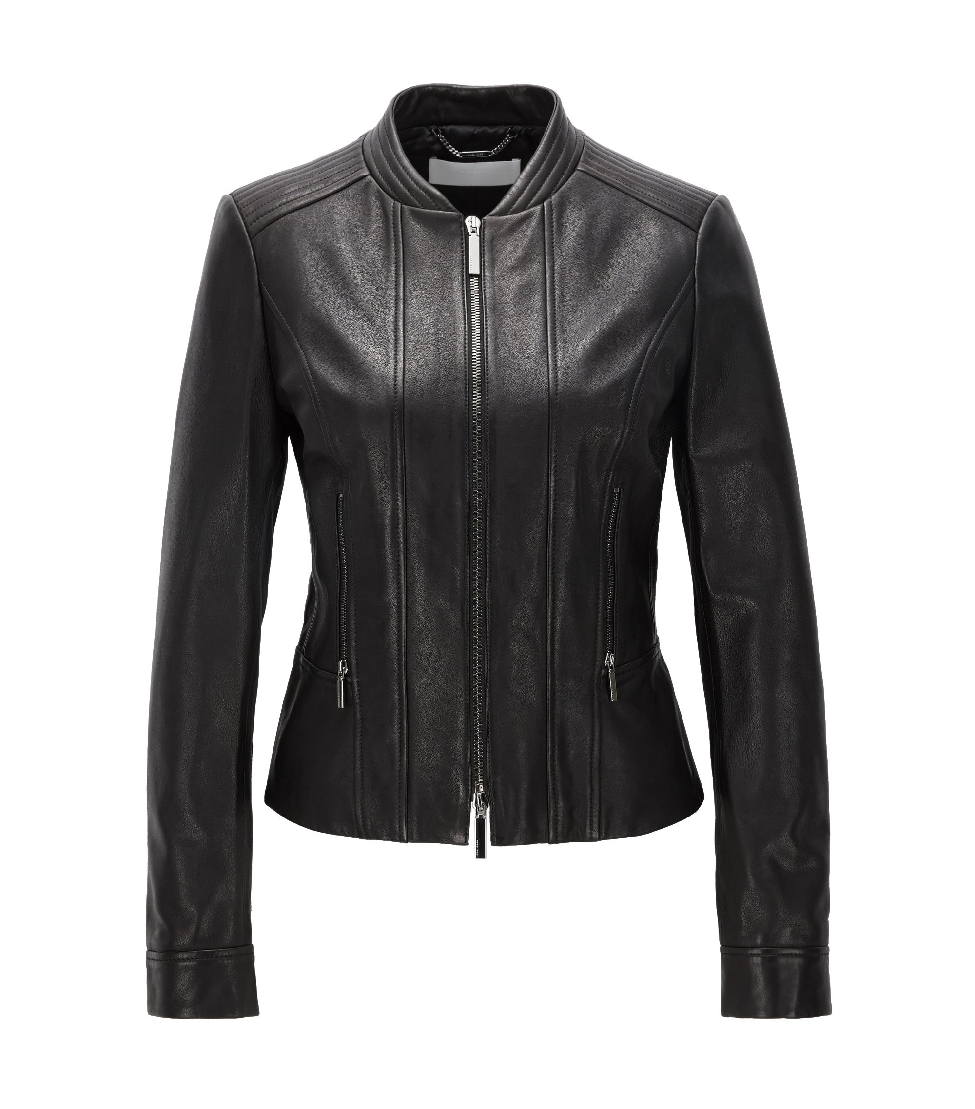 Regular-Fit Bikerjacke aus Leder mit Zwei-Wege-Reißverschluss, Schwarz