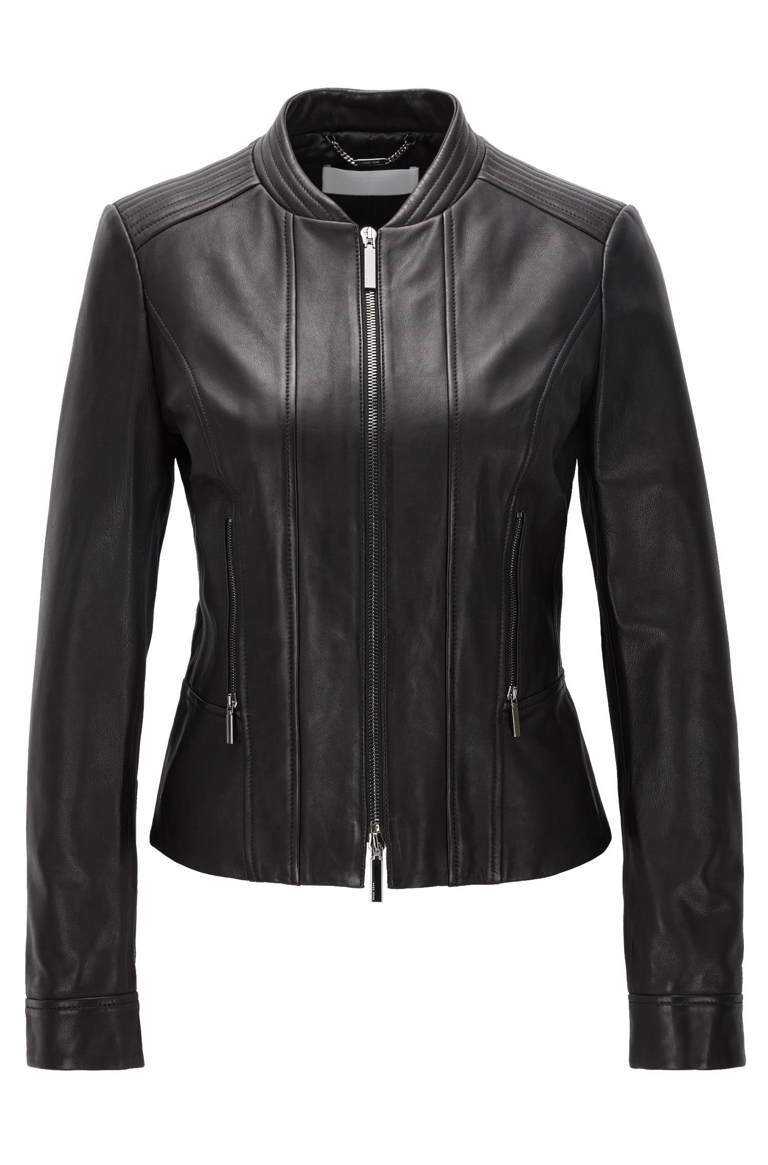 Leather biker jacket with two-way zip