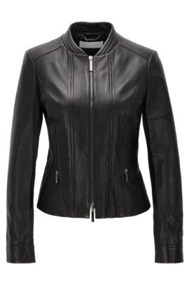 Leather biker jacket with two-way zip, Black
