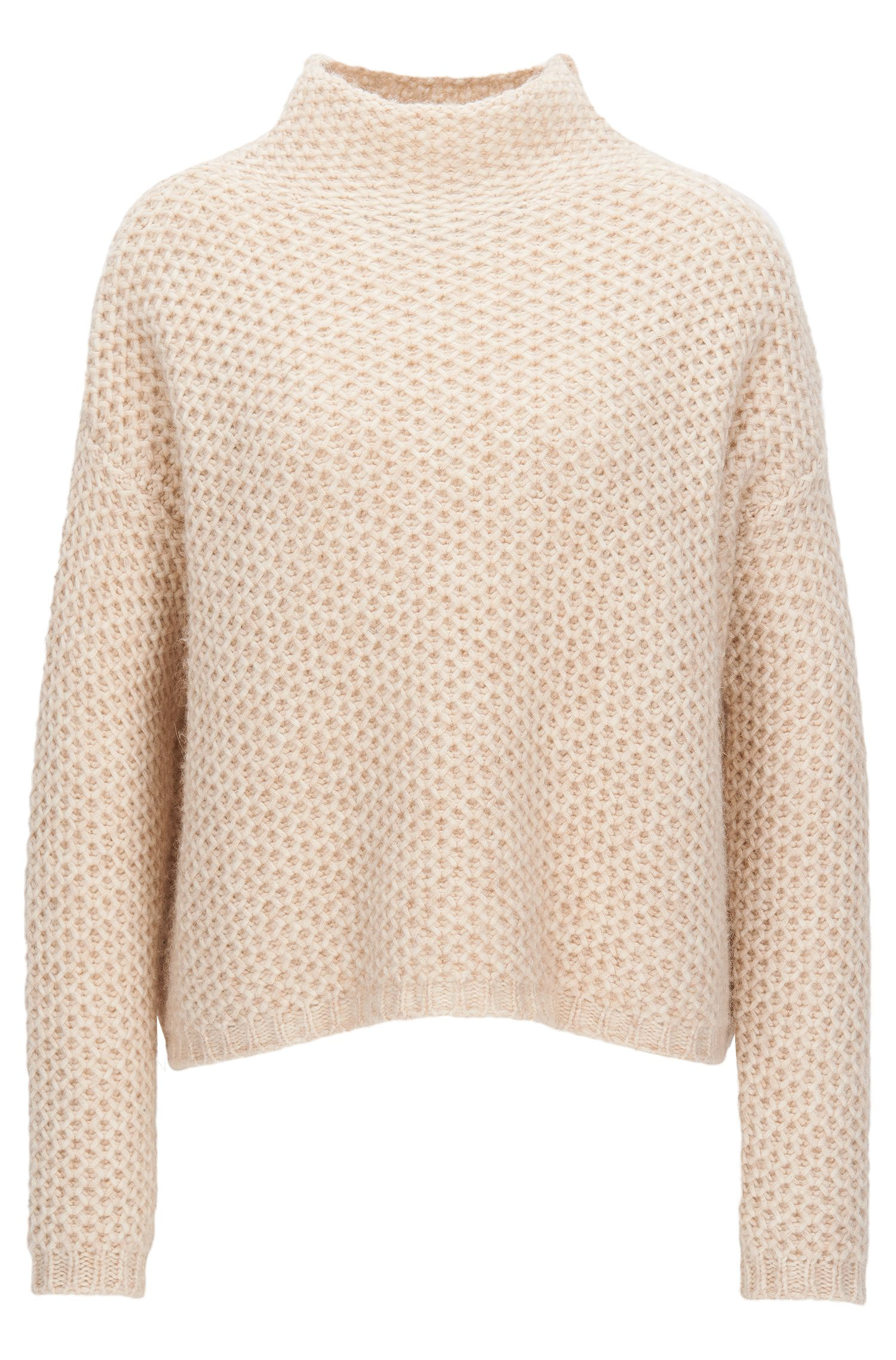 Funnel-neck sweater in a structured knit