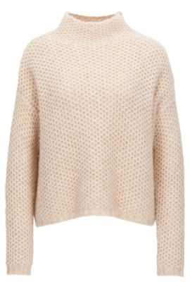 Funnel-neck sweater in a structured knit, Natural