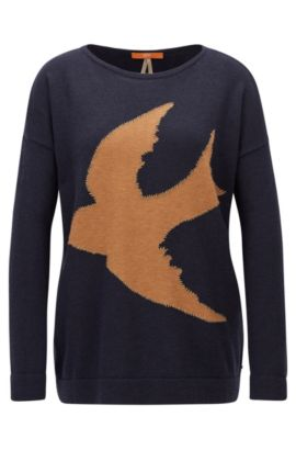 Relaxed-fit jersey sweater with bird intarsia, Dark Blue