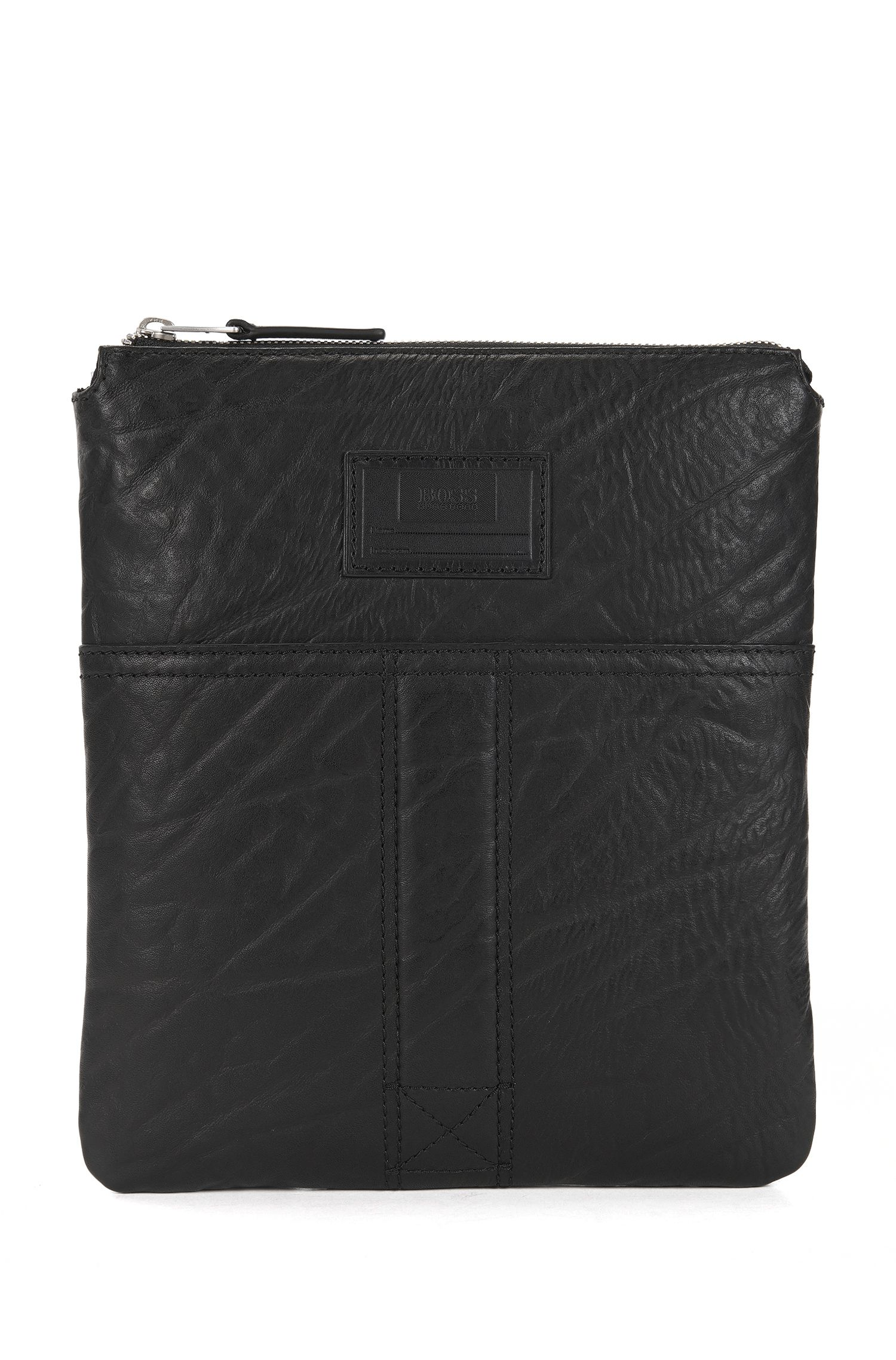 Zip-top envelope bag in grained leather
