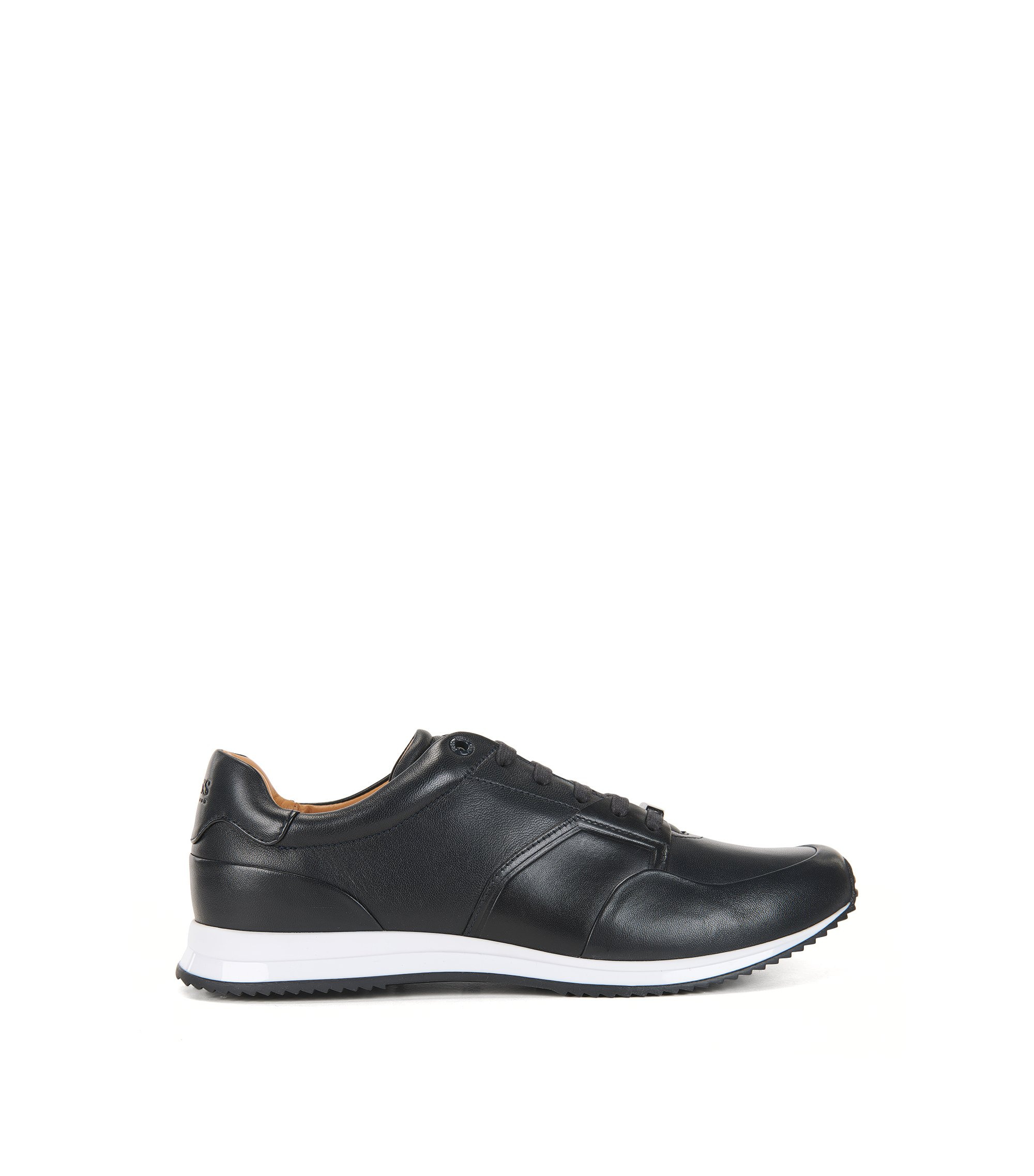 Low-top lace-up trainers in calf leather, Dark Blue