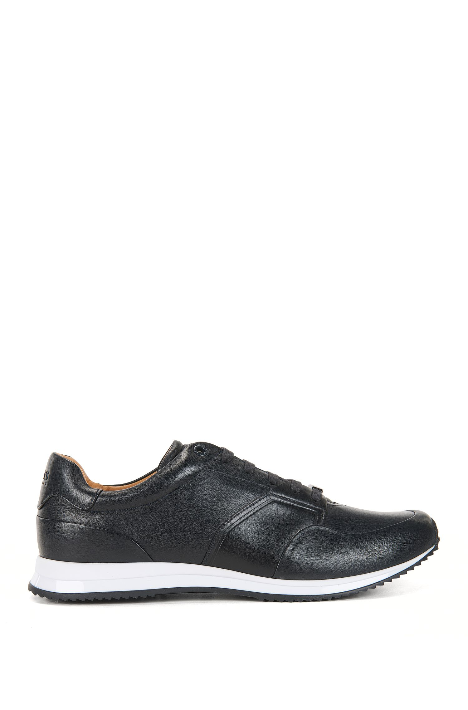 Low-top lace-up trainers in calf leather