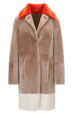 Regular-fit short-hair shearling coat with colourblock detail, Light Brown