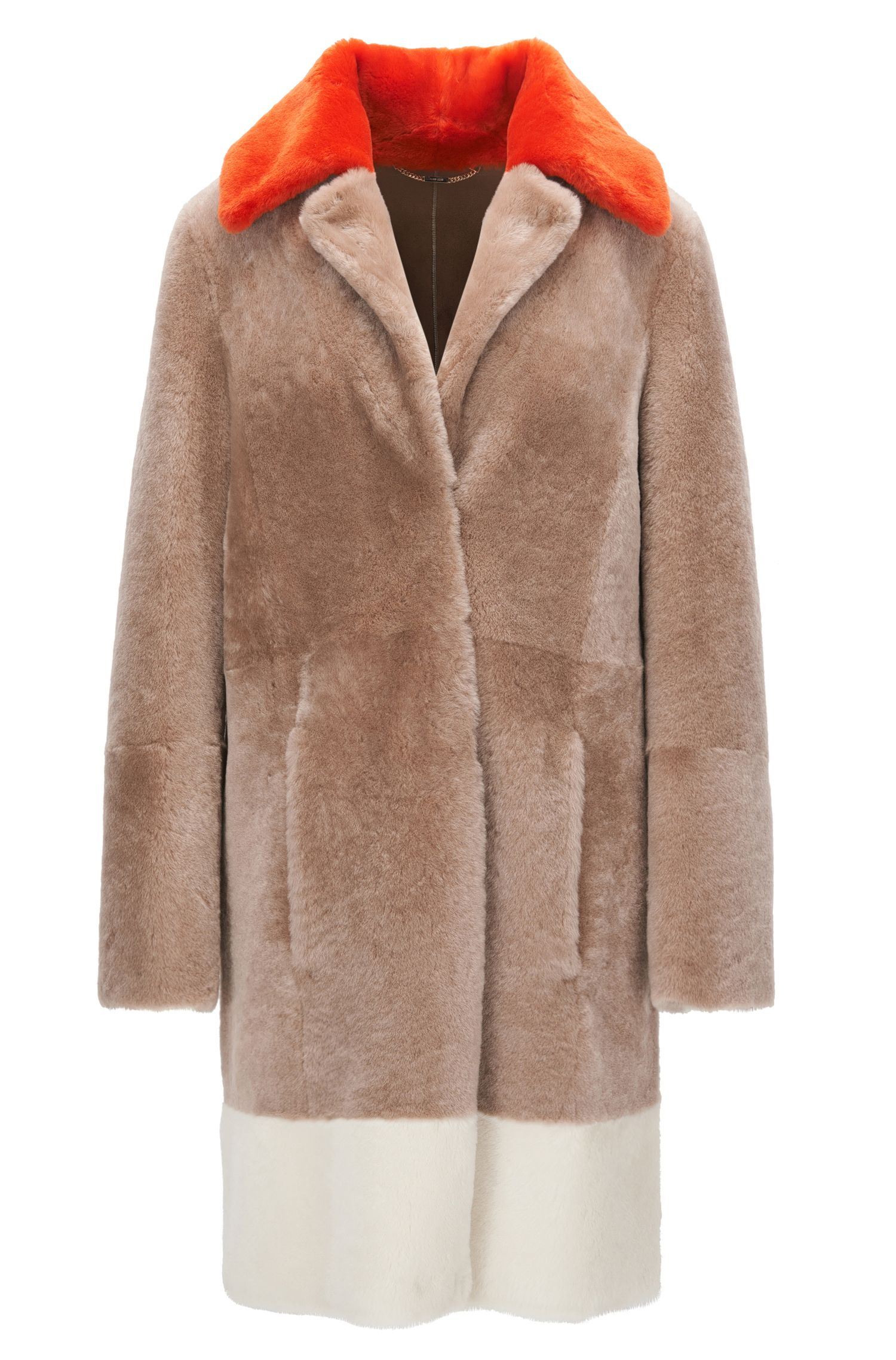 Regular-fit short-hair shearling coat with colourblock detail