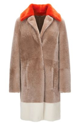 Regular-fit short-hair shearling coat with colourblock detail, Light Brown
