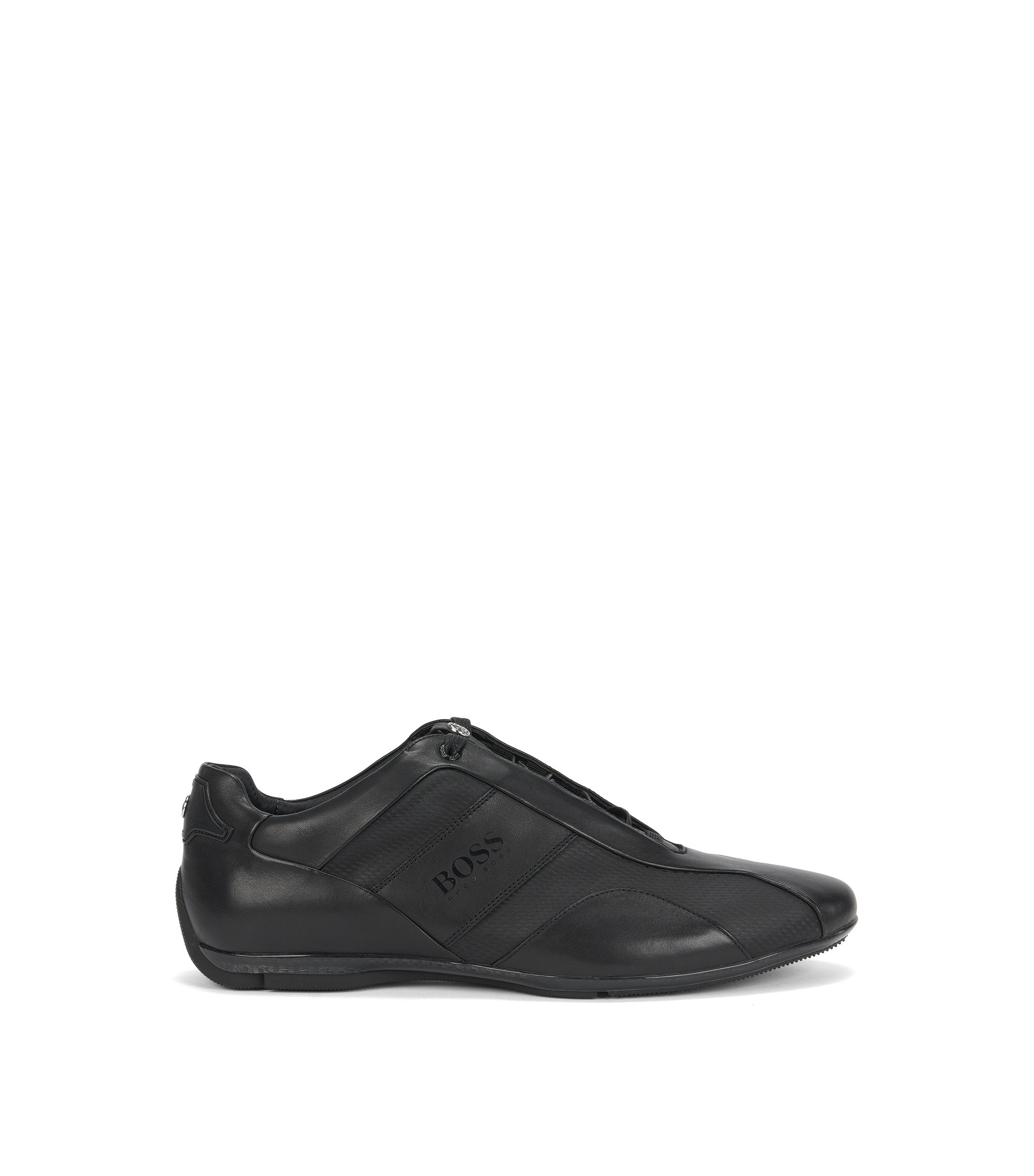 Sneakers low-top in pelle liscia, Nero