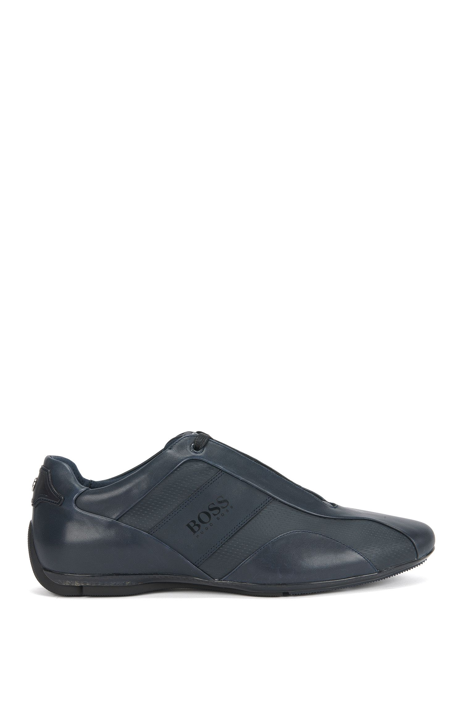 Low-top trainers in smooth leather