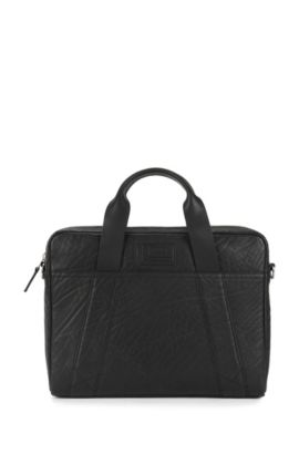 Document case in grained leather, Black