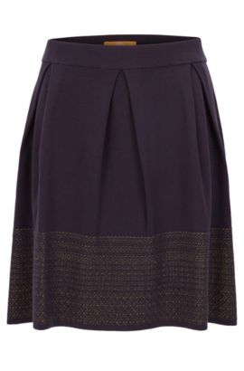 Skater skirt with two-tone jacquard decoration, Dark Blue