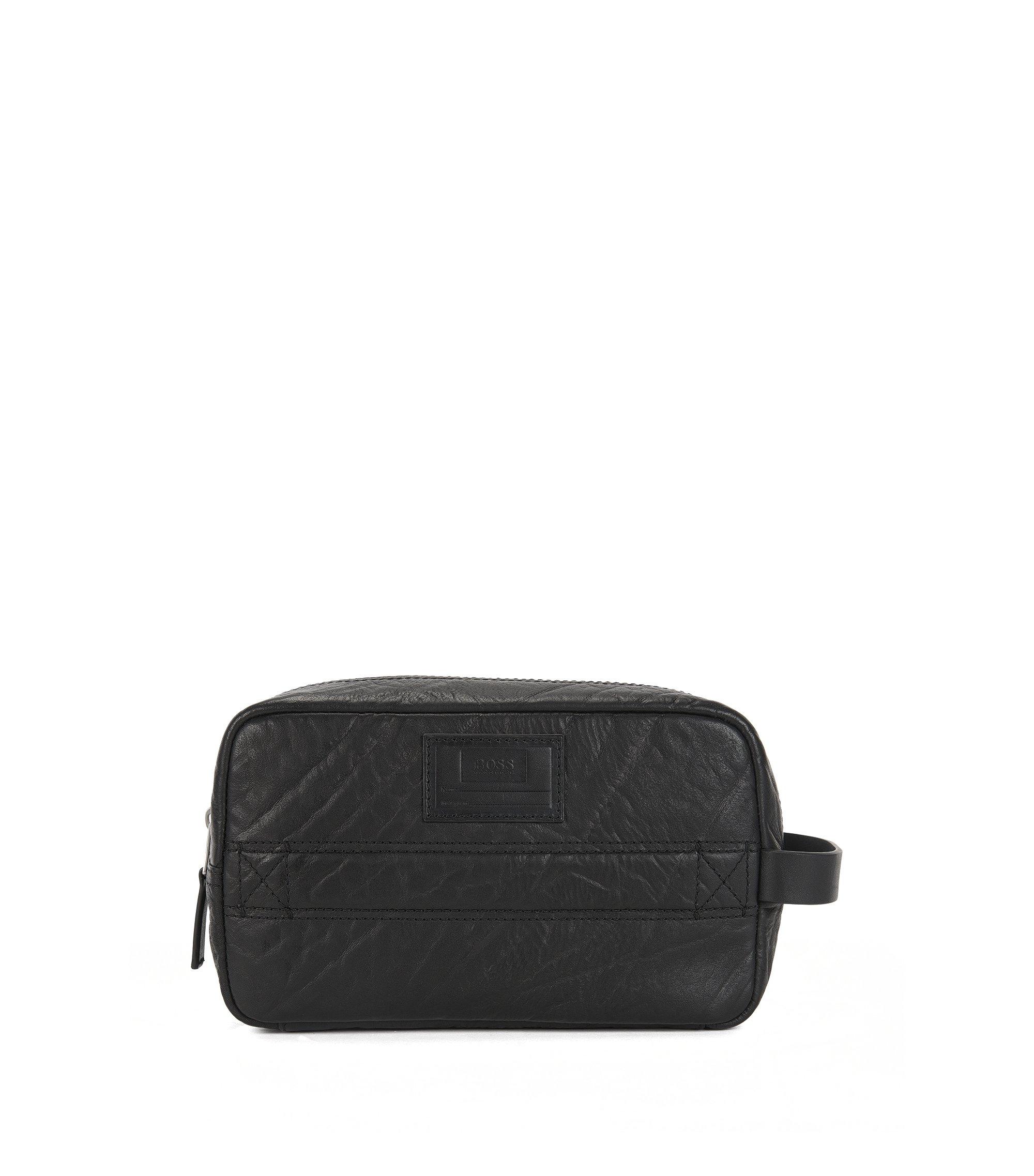 Zip-top wash bag in grained leather, Black